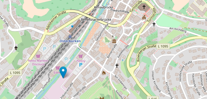 Map to show direction to the Kastell-Apotheke in Osterburken